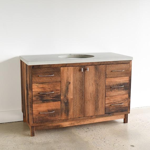 Rustic Bathroom Vanity 48 Reclaimed Wood Storage Console