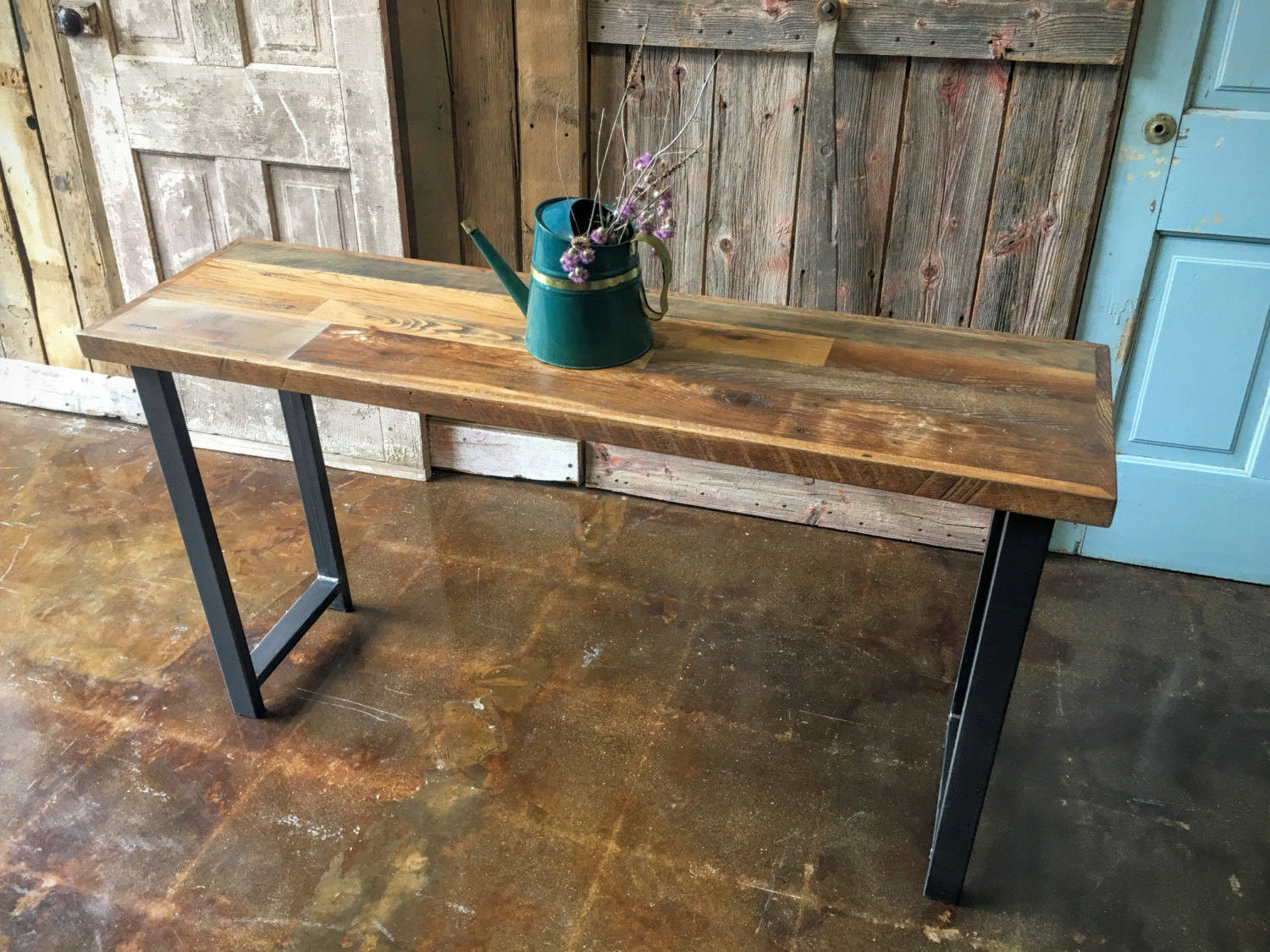 Etsy Slide Table Couch: Reclaimed Wood Patchwork Console Table Industrial Sofa