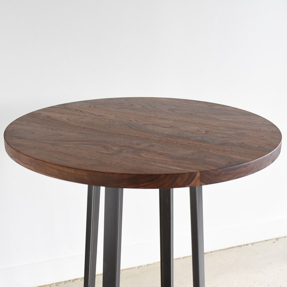 Round Walnut Kitchen Table / Counter or Bar Height Pub Table / Industrial  Round Bistro Table / Restaurant Cafe Table