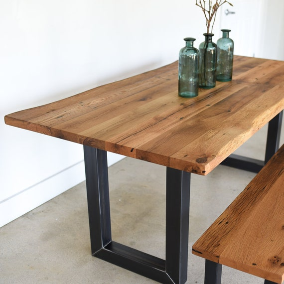 Live Edge Dining Table / Reclaimed Wood Industrial Kitchen Table with 3\