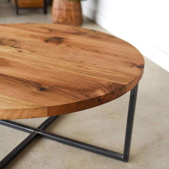 Groovy Modern Round Coffee Table Reclaimed Wood Metal Base Coffee Table Industrial Coffee Table Lamtechconsult Wood Chair Design Ideas Lamtechconsultcom