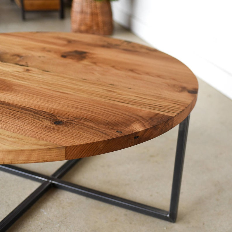 Modern Round Coffee Table Reclaimed Wood Metal Base Coffee Etsy
