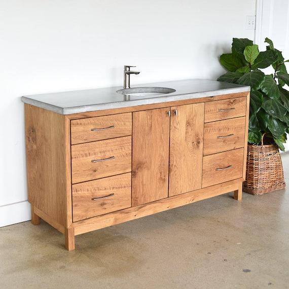 Solid Wood Bathroom Vanity 60 Mid Century Modern Etsy