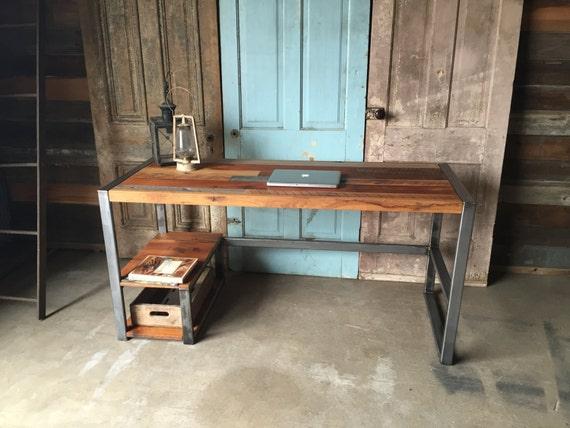 Bureau bois avec bas de récupération étagère métal cadre etsy