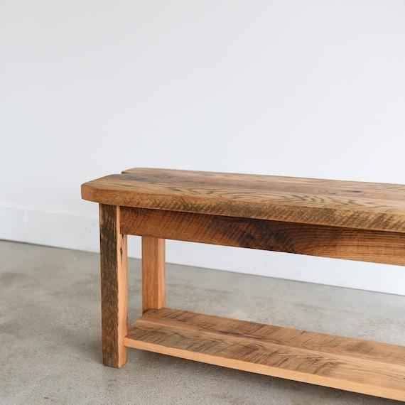 Enjoyable Farmhouse Bench Made From Reclaimed Wood Lower Shelf Creativecarmelina Interior Chair Design Creativecarmelinacom