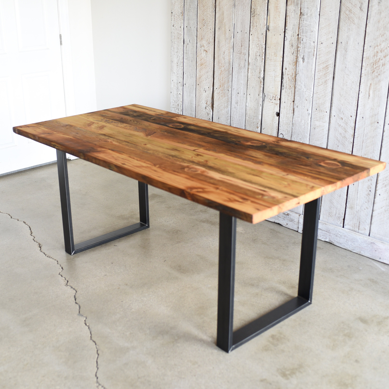 Industrial Reclaimed Pine Kitchen Table / U-Shaped Metal Legs