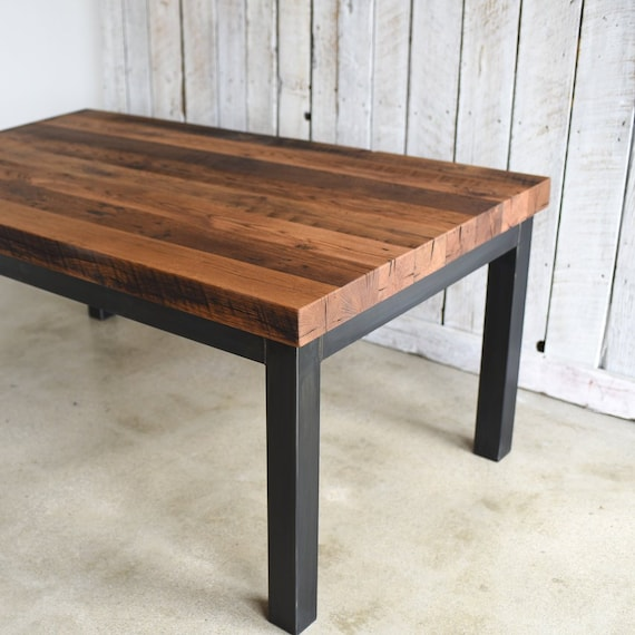 3 thick reclaimed wood kitchen table industrial dining etsy rh etsy com reclaimed wood kitchen tables uk reclaimed wood kitchen tables uk