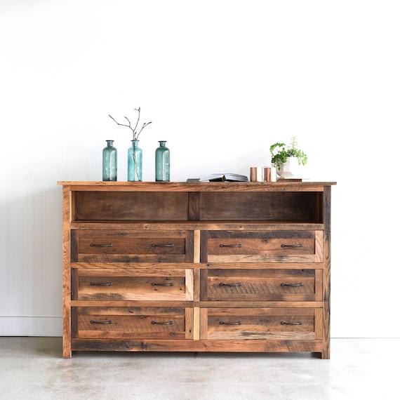 Grande rustico cassettone / comò camera da letto di legno 6 cassetti Barn /  cabina mobili camera da letto