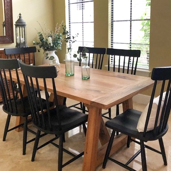 Trestle Table / Farmhouse Dining Table made from Reclaimed Wood / Solid  Wood Kitchen Table