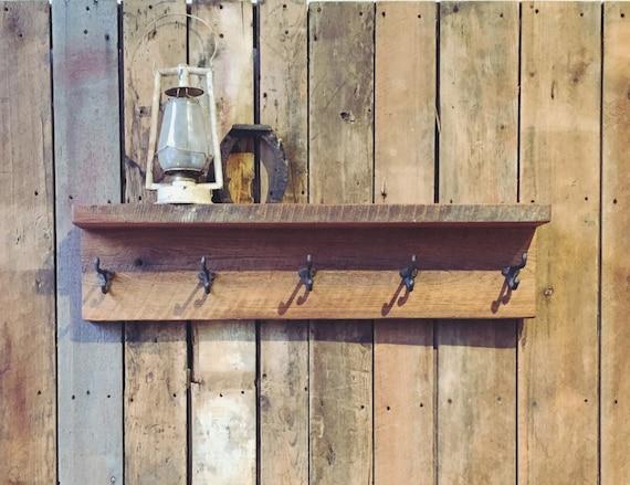 Reclaimed Wood Coat Rack With Shelf Barn Wood Coat Hanger Etsy Stunning Reclaimed Barn Wood Coat Rack