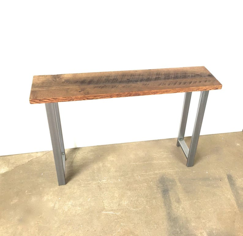 promo code 0b02c ac046 Reclaimed Wood Console Table / Industrial H-Shaped Steel Legs / 12