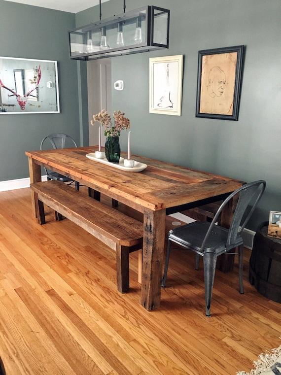Reclaimed Wood Farmhouse Dining Table Textured Finish Etsy