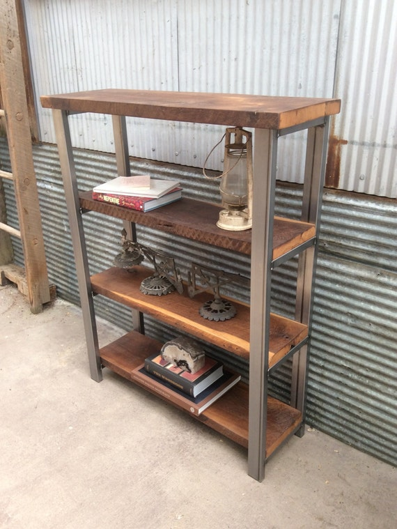 Open Shelving Bookcase Reclaimed Wood Steel Frame
