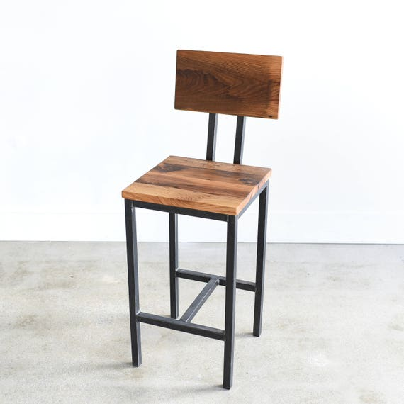 Rustic Bar Stool made from Reclaimed Barn Wood Industrial Steel Frame