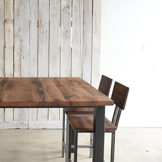 Beau Square Post Leg Pub Table / Reclaimed Wood Pub Table | Etsy