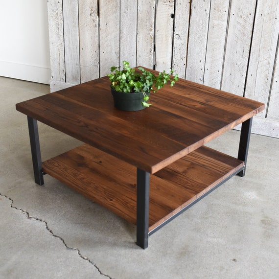 Reclaimed Wood Coffee Table With Lower Shelf Square Industrial Steel Leg Coffee Table