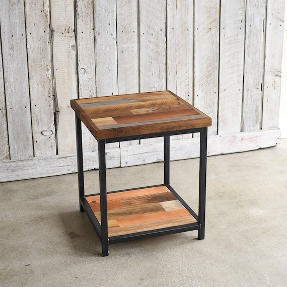 Rustic Accent Table Reclaimed Wood End Table Lower Shelf