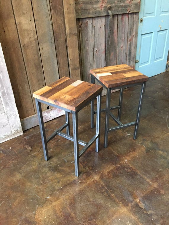 Surprising Reclaimed Wood Patchwork Barn Wood Bar Stools Industrial Stool Hand Welded Steel Base And Eco Friendly Finish Set Of Two Evergreenethics Interior Chair Design Evergreenethicsorg