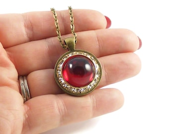 Scarlet Red Vintage Swarovski Crystal Pendant Necklace, Limited Edition Handmade Vintage Style Jewellery