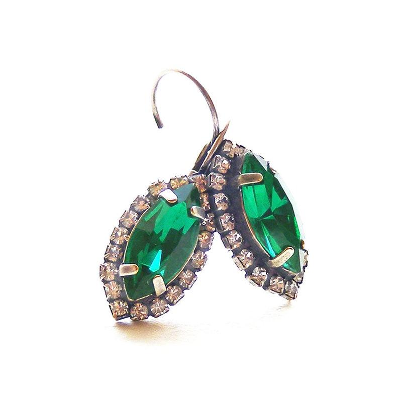 88c73979c Elegant Emerald Green Swarovski Crystal Earrings Victorian | Etsy
