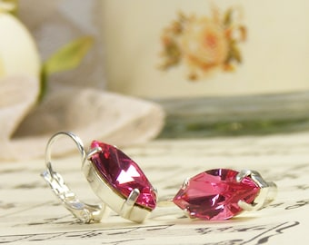 Vintage Style Pink Crystal Earrings, Vintage Swarovski Crystal Jewels, Rose Pink Handmade Jewellery