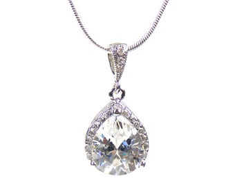 Crystal & Silver Bridal Teardrop Pendant, Bridesmaid Gifts, Wedding Necklace, Prom Jewellery