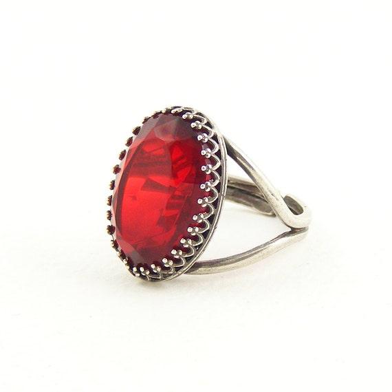 Red Cocktail Ring Adjustable Ring Handcrafted Vintage Style Jewellery Scarlet Vintage Crystal
