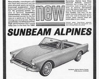 Sunbeam Alpine Car Print 1964, Advertising Wall Art