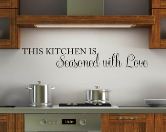 Vinyl Wall Word Decal - This Kitchen is Seasoned With Love - Home Decor - Wall Words