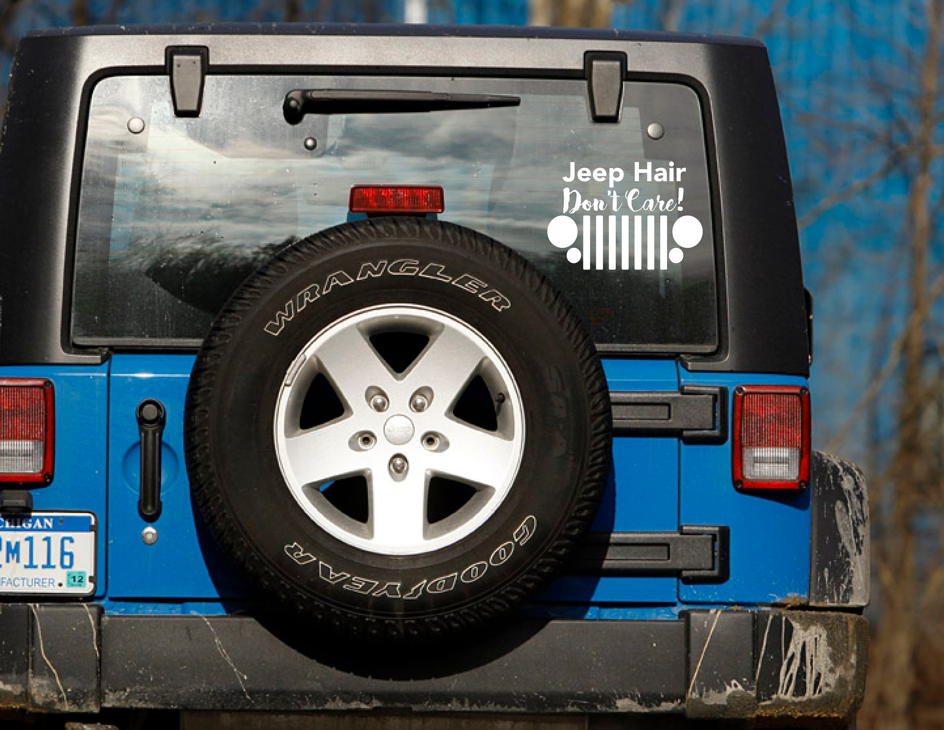 Vinyl Car Decal Jeep Hair Don T Care White Car Decal Etsy
