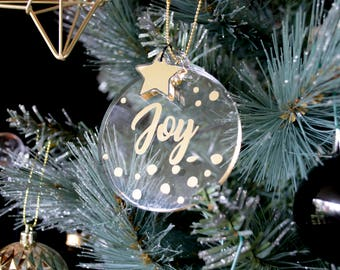 Gold Personalised Baubles - Christmas Ornaments - Custom Xmas Decorations