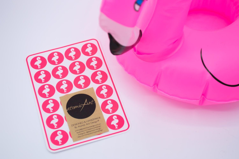 24 Flamingo Stickers in Neon Pink - Handmade Envelope Seals - Wedding &  Birthday invitations - Candy Hershey Kiss - Kids Birthdays