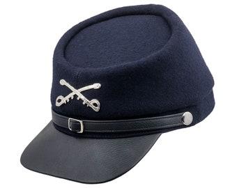 BLUE AND GRAY Wool Kepi Cap American Civil War Replica Leather Visor Secession Union Confederate Army Military Headgear Foreign bLUE-bLACK