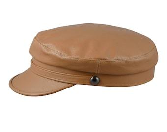061ce2895f874 TRAWLER - Genuine Leather Breton Hat Greek Fisherman Sailor Captains  Nautical Skipper Seaman Mariner Boatman Seafarer Yachtsman Peaked Hat