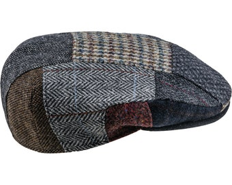 688ffc5fe26 DANNY BOY - Genuine Scottish Harris Tweed Pure Wool Patchwork Flat Cap  Gatsby Dai Jeff Ivy League Derby Paddy Driving Duffer Plaid Hat