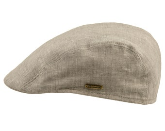 f3bbba53941 GECKO - Pure Natural Linen Summer Ivy League Flat Cap English Jeff Bunnet  Summer Spring Gatsby Breathable Vented Sun Protection Beach Hat