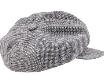 8ba34f59 VIGO(56 cm) - wool (tweed) Peaked 8 panel cap Newsboy, Paperboy Vintage  Retro Resistance Liberte stage rock poorboy style - ligh gray
