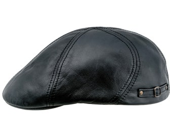 670a9acdd8984 DODGER - Genuine Leather Duckbill English Flat Cap Cabbie Mens Ivy League  Cabby Driving Bicycle Gatsby Duffer Joao s Bunnet Natural Skin Hat