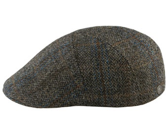 5a880fd3809 IVY FIVE - Genuine Scottish Harris Tweed Pure Wool English 5 Panels Flat Cap  with Warm Quilted Padded Lining Tartan Sixpence Vergon Dai