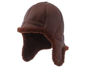 3410699ed6a3b BALOO - Warm Genuine Shearling Leather Winter Trapper Bomber Cap Aviator  Chapka Ushanka Pilot Earflap Trooper Sherpa Russian Ear Tabs Hat