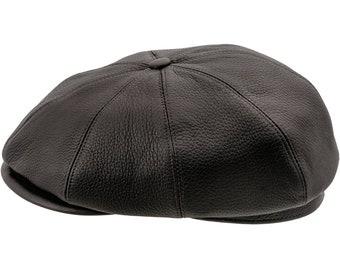 BRIAN - 8 Panels Gatsby Brian Natural Leather Flat Cap Irish Newsboy Poor  Boy Applejack Baker Boy Scally Crook Hooligan Ivy Bandit Skin Hat f05b8afa283c