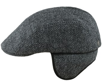 c9c94669f38 NORTE - Earflap Flat Cap Harris Tweed Jeff Paddy Irish Wool Driving English  Gatsby Walking Mens Ivy Newsboy Hunting Scally Baker Poor Boy