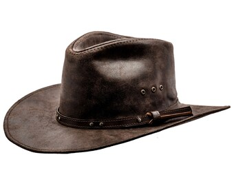 cbafd0a01228b BUCKAROO - Genuine Leather Western Cowboy Hat Outback Rodeo Old West  Cattleman Rancher Cowman High Plains Drifter Wild West Horse Riding