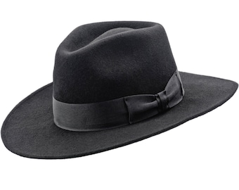 50efc5b60d7 CHICAGO - Wool Felt Teardrop Top Wide Brim Fedora Gambler Hat Jazz Vintage  Boho Mobster Gangster Crown Dressy Mens Trilby Elwood Baldwin