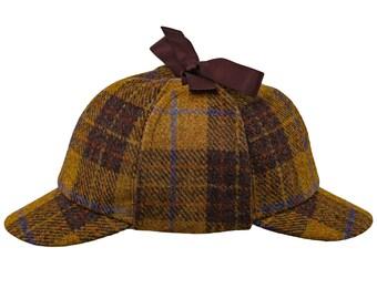 ac4153b1 HOLMES Genuine Scottish Harris Tweed Pure Wool Deerstalker Sherlock Cap  Hunting Trapper Deer Hunter 6 Panels Earflap Plaid Check Tartan Hat