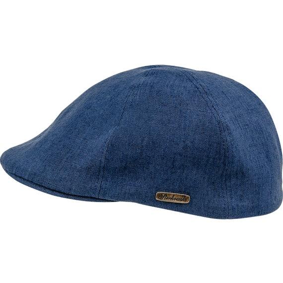 RUSTY gorra con pico de pato de verano de lino puro azul  d4a9181f52b