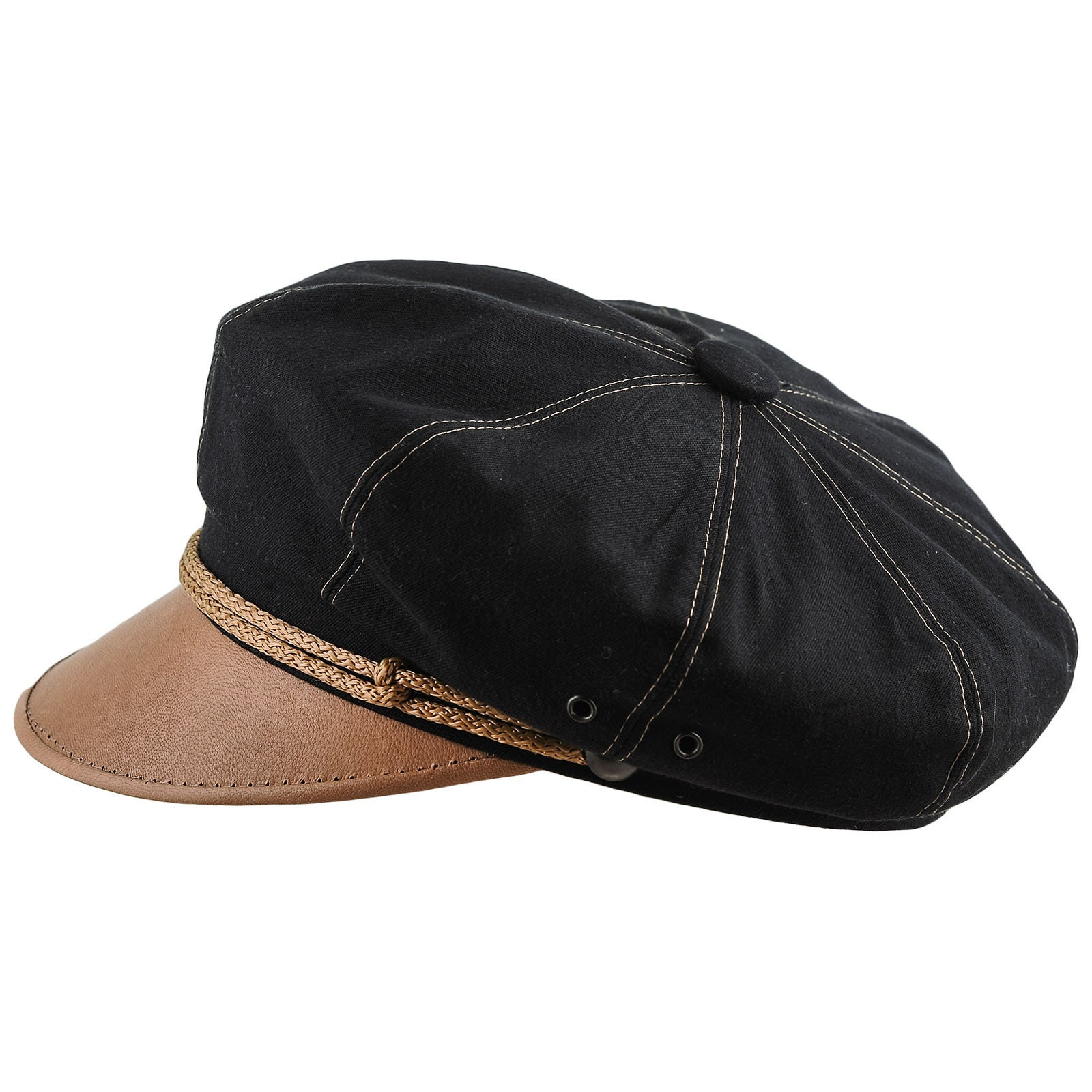 23302a12d82 HARLEY Vintage Motorcycle Cap Pure Cotton Natural Leather