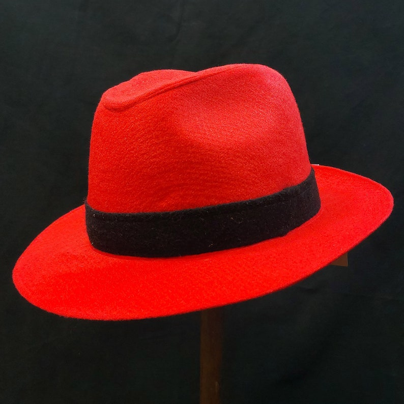 OUTLET BOSSANOVA 59cm Women/'s Hat Classic Fedora 100/% Wool Sewn Red Hat Vintage Style Wide Brim Water Repellent Wide Brim