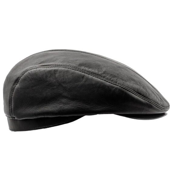 ED gorra plana con visera de cuero genuino negro  f92a032d2db