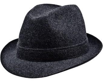 ELWOOD Wool Cloth Trilby Hat Sewn Short Brim Houndstooth Bogart Bond Gangster Dressy Formal Vintage Jones Narrow Brimmed Mens Womens Fedora